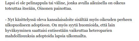 Pentti Oinonen, Perussuomalainen 18.2.2014