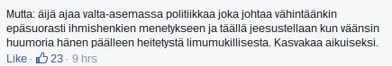 Facebook-keskustelua 30.11.2015
