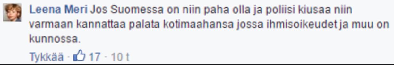 Kansanedustaja Leena Meri Facebookissa syyskuussa 2016