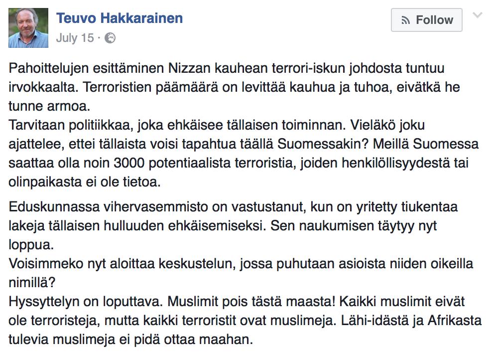 Kansanedustaja Teuvo Hakkarainen Facebookissa heinäkuussa 2016